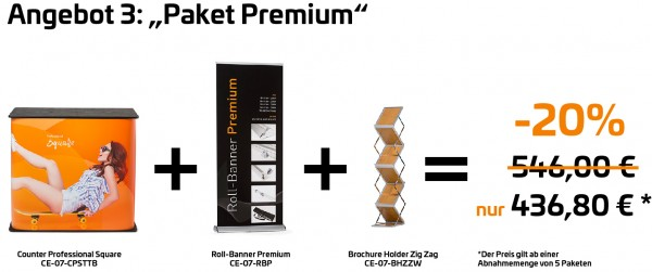 "Paket ""Premium"" - Roll-Banner Premium + Counter Professional Square + Brochure Holder Zig Zag"