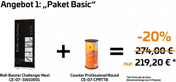 "Paket ""Basic"" - Roll-Banner Challenger Next + Counter Professional Round"