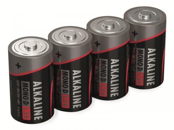 Alkalibatterien, Typ D, 1,5 V, 4 Stück (Aussehen kann variieren)